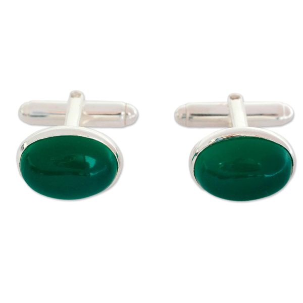 Best Designer Jewelry Sterling Silver Oval Mother of Pearl /& Onxy Cuff Links