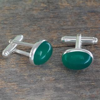 Handcrafted Sterling Silver 'To Dream' Onyx Cufflinks (India)