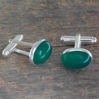 Handmade Sterling Silver 'To Dream' Onyx Cufflinks (India)
