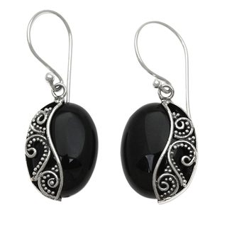 Handcrafted Sterling Silver 'Serene Night' Onyx Earrings (Indonesia)