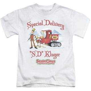 Santa Claus Is Comin To Town/Kluger Short Sleeve Juvenile Graphic T-Shirt in White