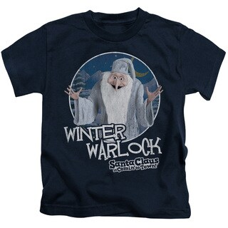Santa Claus Is Comin To Town/Winter Warlock Short Sleeve Juvenile Graphic T-Shirt in Navy