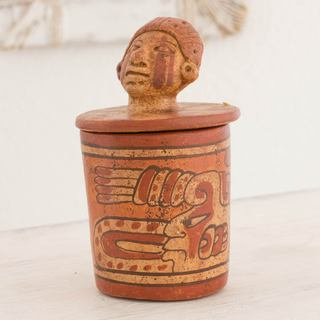 Handmade Ceramic 'Pibil Man' Maya Replica Decorative Vessel (El Salvador)