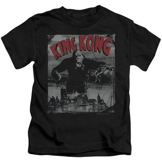 King Kong/City Poster Short Sleeve Juvenile Graphic T-Shirt in Black