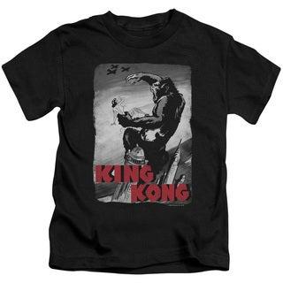 King Kong/Planes Poster Short Sleeve Juvenile Graphic T-Shirt in Black
