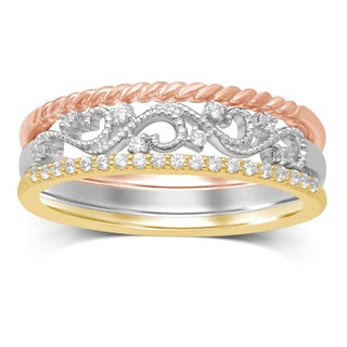 Unending Love 10k Tri-Color Gold 1/7ct TDW Stackable Milgrain Ring