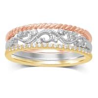 Unending Love 10k Tri-Color Gold 1/7ct TDW Stackable Milgrain Ring - White