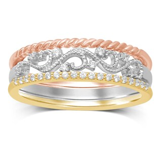 Unending Love 10k Tri-Color Gold 1/7ct TDW Stackable Milgrain Ring - White
