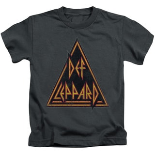 Def Leppard/Distressed Logo Short Sleeve Juvenile Graphic T-Shirt in Charcoal