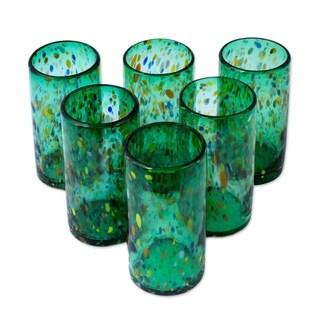 Handmade Set of 6 Blown Glass 'Lime Rainbow Raindrops' Tumblers (Mexico)
