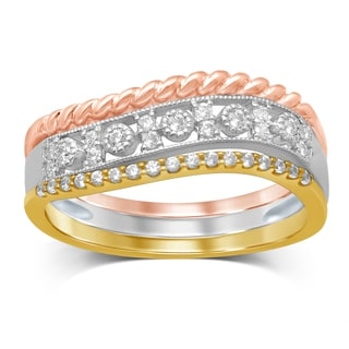 Unending Love Tricolor 14k White/Yellow/Rose Gold 1/5-carat TDW 1J i2-i3 Diamond Stackable Milgrain Fashion Ring