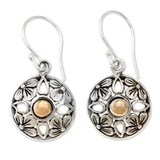 Handmade Gold Accent Sterling Silver 'Golden Plumeria' Earrings (Indonesia)