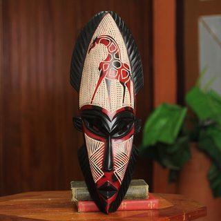 Handcrafted Sese Wood 'African Giraffe Spirit II' African Wall Mask (Ghana)