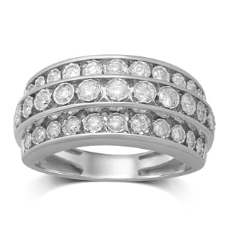 Unending Love 10k White Gold 3/4ct TDW 3 Rows Diamond Anniversary Band (IJ I1-I2)