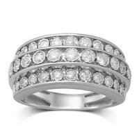 Unending Love 10k White Gold 3/4ct TDW 3 Rows Diamond Anniversary Band