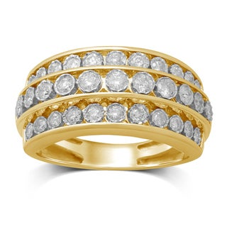 Unending Love 10k Yellow Gold 3/4ct TDW 3 Rows Diamond Anniversary Band (IJ I1-I2)