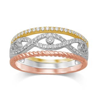 Unending Love 10k White/Yellow/ Rose Gold 1/3c Diamond (iJ 12-13) Tri-color Stackable Fashion Ring