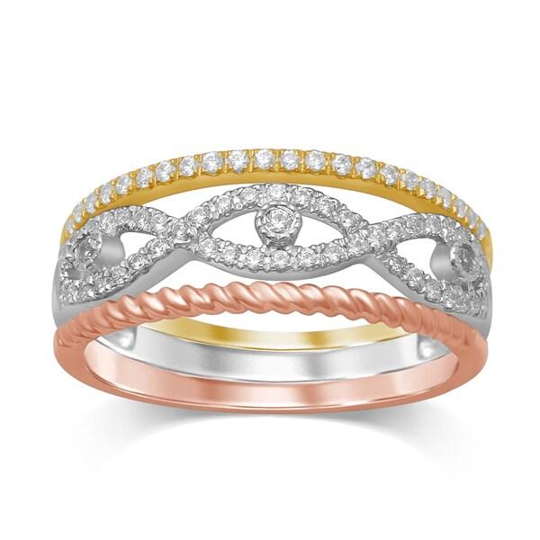 Unending Love 10k White/Yellow/ Rose Gold 1/3c Diamond (iJ