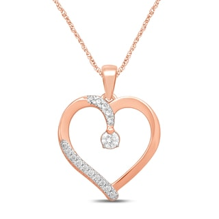 Unending Love 10k Rose Gold 1/5ct TDW Diamond Heart Pendant Necklace (IJ I1-I2)