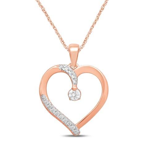 Unending Love 10k Rose Gold 1/5 ctw Diamond ( I-J Color, I2-I3 Clarity ) Heart Pendant Necklace - Pink