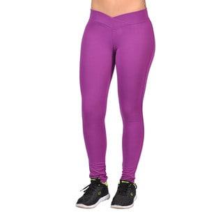 C-est Toi Women's Purple Cotton/Polyester/Spandex Curved-front Elastic-waist Leggings