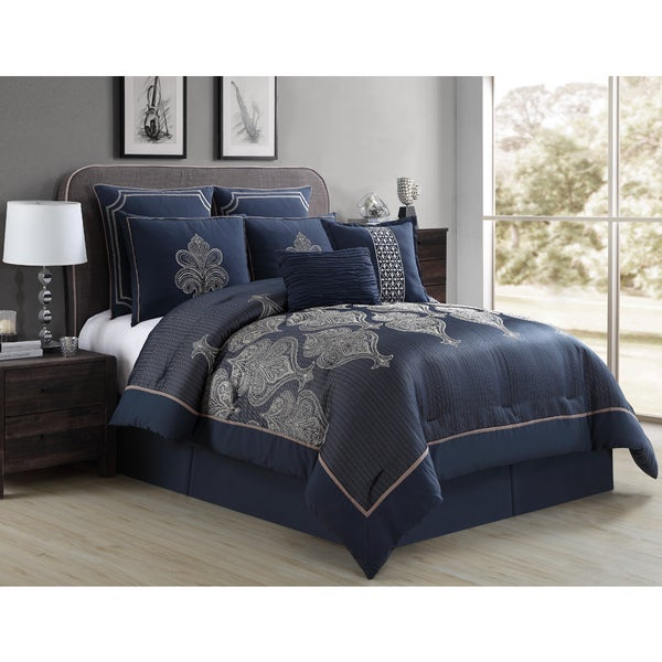 Shop Vcny Marlene 8 Piece Navy Taupe Queen Size Comforter