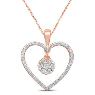 Unending Love 10k Rose Gold 1/4ct TDW Diamond Heart Pendant Necklace (IJ I2-I3)