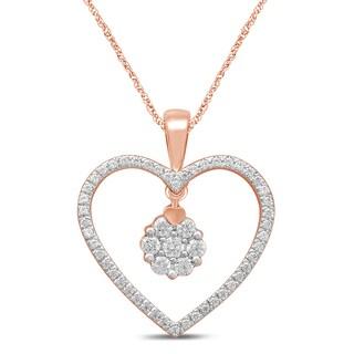 Unending Love 10k Rose Gold 1/4ct TDW Diamond Heart Pendant Necklace - Pink