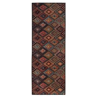 Ottomanson Authentic Collection Multicolor Abstract Diamonds Design Non-slip Contemporary Area Rug - 2'3 x 6'