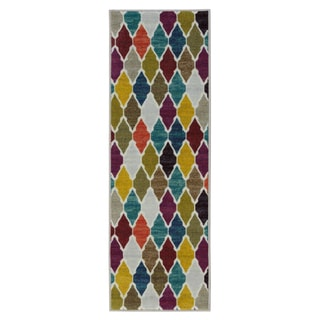 Ottomanson Authentic Collection Multicolor Synthetic Non-slip Trellis Design Area Rug (2'3 x 6'0)