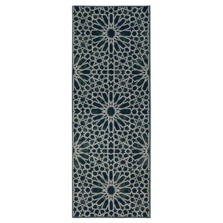 Ottomanson Authentic Collection Blue Polypropylene Geometric Pattern Nonslip Runner Rug (2'3 x 6'0)