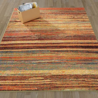 Ottomanson Authentic Collection Multicolor Polypropylene Abstract Stripe Non-slip Area Rug (3'3 x 5'0)