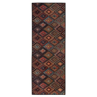 Ottomanson Authentic Collection Multicolored Polypropylene Non-slip Contemporary Abstract Diamond Design Area Rug (1'8 x 4'11)