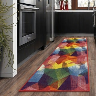 Ottomanson Rainbow Collection Multicolor Synthetic Non-slip Abstract Pattern Area Rug (2'3 x 6'0)