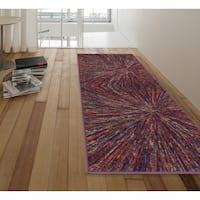 Ottomanson Rainbow Collection Multicolor Nonslip Modern Abstract Firework Design Area Rug - 2'3 x 6'