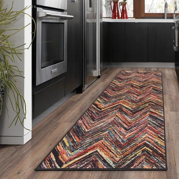 Ottomanson Rainbow Collection Modern Abstract Chevron Design Multicolor Polypropylene Nonslip Area Rug - 2'3 x 6'