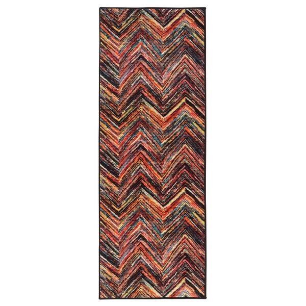 Ottomanson Rainbow Collection Modern Abstract Chevron Design Multicolor Polypropylene Nonslip Area Rug (2'3 x 6')