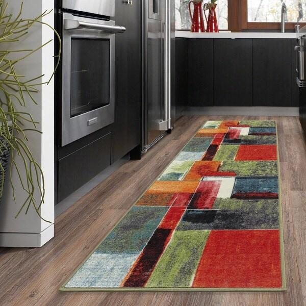Ottomanson Rainbow Collection Multicolor Polypropylene Non-slip Modern Abstract Squares-design Runner Rug - 2'3 x 6'