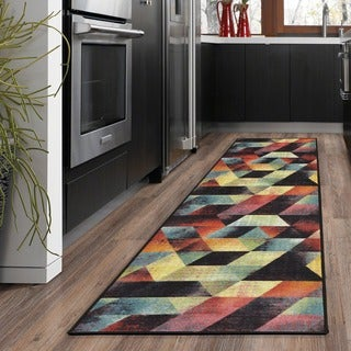 Ottomanson Rainbow Collection Non-Slip Modern Multicolor Abstract Art Deco Design Area Rug ( 2'3 X 6'0)