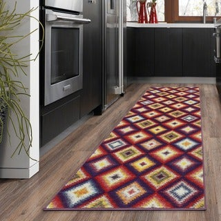Ottomanson Rainbow Collection Black/Gold Polypropylene Nonslip Area Rug (2'3 x 6'0)
