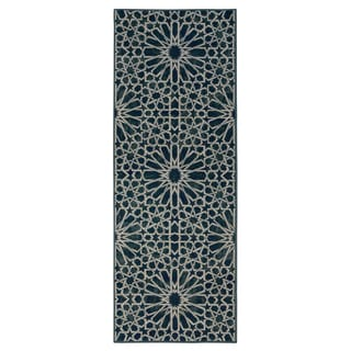 Ottomanson Authentic Collection Blue Synthetic Non-slip Geometric Pattern Area Rug (1'8 x 4'11)