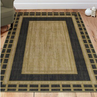 Ottomanson Authentic Collection Contemporary Dark Green Polypropylene Bordered Design Area Rug (3'3 x 5')