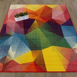 Ottomanson Rainbow Collection Multicolor Synthetic Non-slip Abstract Design Area Rug (3'3 x 5'0)