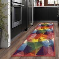 Ottomanson Rainbow Collection Multicolor Synthetic Non-slip Modern Abstract Design Area Rug (1'8 x 4'11)