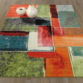 Ottomanson Rainbow Collection Modern Abstract Squares-design Multicolor Polypropylene Nonslip Area Rug (3'3 x 5'0)