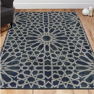 Ottomanson Authentic Collection Blue Nonslip Contemporary Geometric Pattern Area Rug (3'3 x 5')