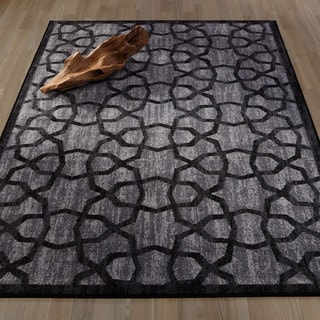 Ottomanson Authentic Collection Polypropylene Geometric Trellis Non-Slip Area Rug (3'3 x 5')