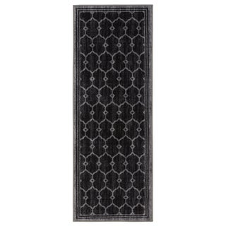 Ottomanson Authentic Collection Black/Green Synthetic Non-Slip Contemporary Trellis Design Area Rug (1'8 x 4'11)
