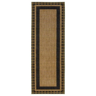 Ottomanson Authentic Collection Dark Green Polypropylene Bordered-design Contemporary Area Rug (1'8 x 4'11)