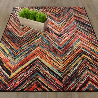 Ottomanson Rainbow Collection Modern Abstract Chevron-design Multicolored Polypropylene Nonslip Area Rug (3'3 x 5'0)
